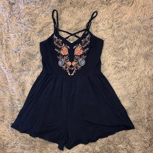 Navy blue embroidered romper